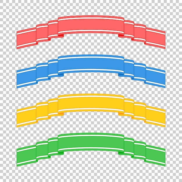 Set of colored isolated banner ribbons on transparent