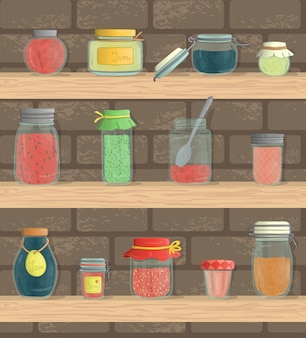 Set of colored jam jars on shelves with brick