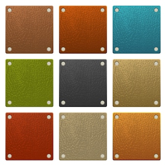 Set of colored leather labels isolated on white background