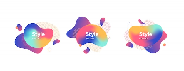 Set of colored liquid shape with splashes banner