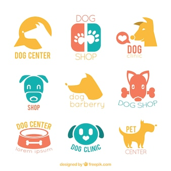 Set of colored logos for dogs