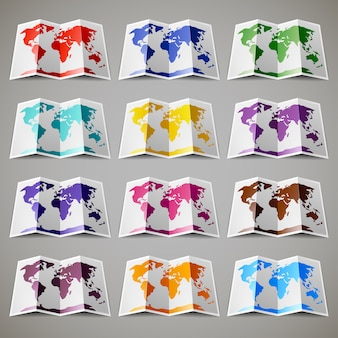 Set of colored maps of the world