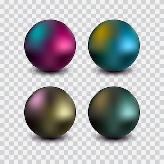 Set colored metal spheres with shiny metallic isolated on a transparent background for design elements