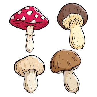 Set of colored mushroom illustration using doodle art