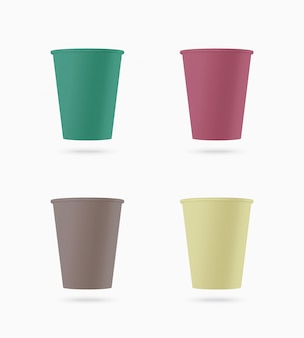 Set of colored paper cups.