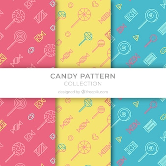 Set of colored patterns with candies