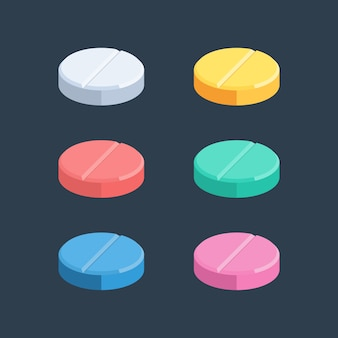 Set of colored pills