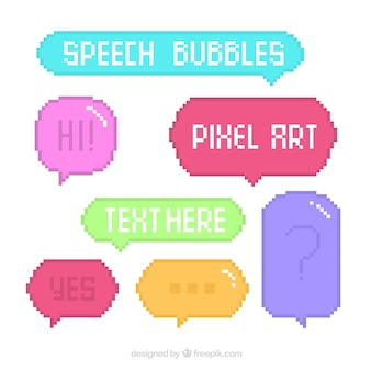 Set of colored pixelated speech balloons