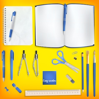 Set of colored school supplies background.   file included