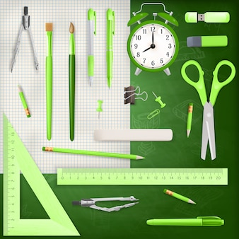 Set of colored school supplies background.