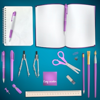Set of colored school supplies