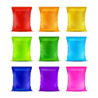 Set of colored sealed plastic foil chips bags