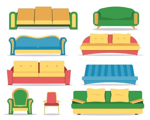 Set of colored sofa. comfortable couch, interior  .