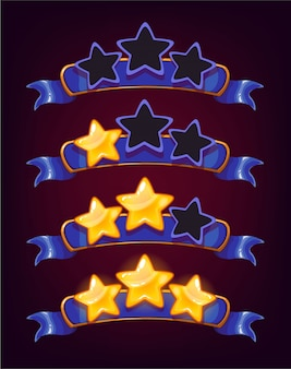 Set of colored stars and ribbons