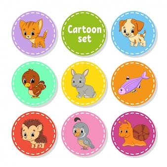 Set of colored stickers with cute characters.