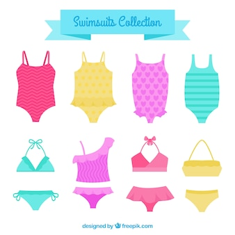 Set of colored swimsuits