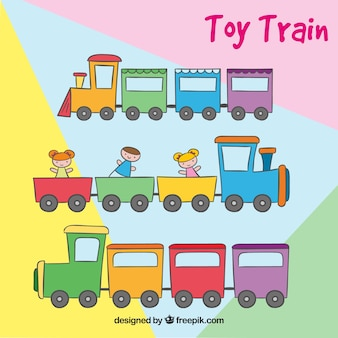 Set of colored toy trains