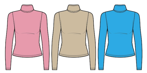Set of colored turtlenecks slim fit long sleeve tshirt