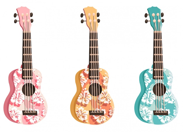 Set colored ukulele