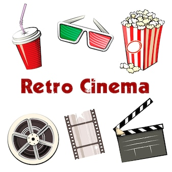 Set of colored vector retro cinema icons with a soda in a takeaway mug  3d glasses  popcorn  reel of 35mm film  film strip and clapper board