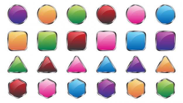 Set of colored web buttons  template