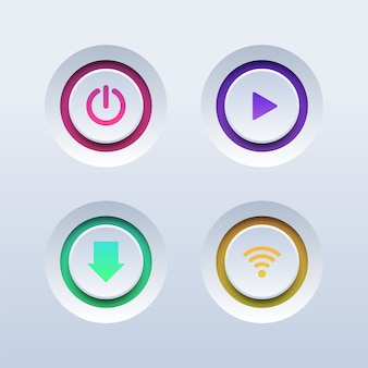 Set of colorful 3d buttons. power, play, download and wifi buttons.