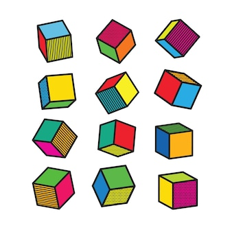 Set of colorful 3d cubes in pop art style