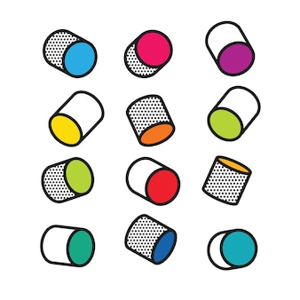 Set of colorful 3d cylinders in pop art style