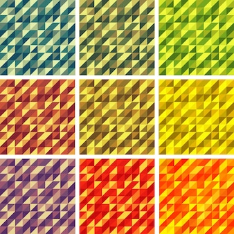 Набор красочных 9 ярких геометрических фонов векторные иллюстрации