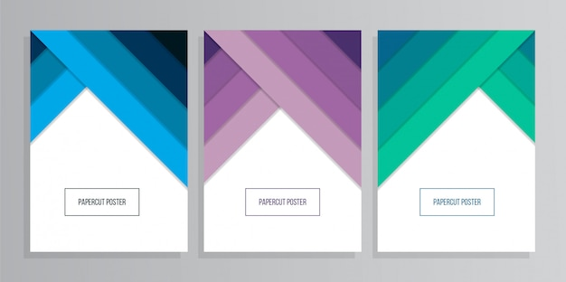 Set of colorful a4 paper geometric background with papercut style