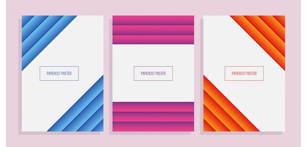 Set of colorful a4 paper geometric cover with papercut style