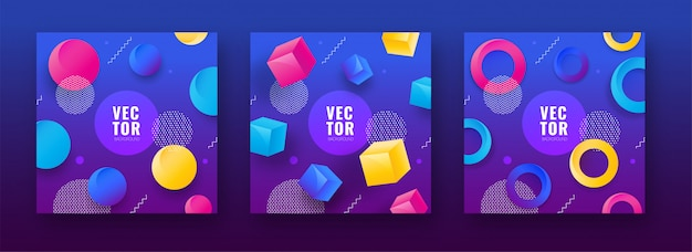 Set of colorful abstract design background with geometric shape
