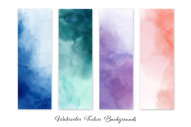 Set of colorful abstract stain watercolor set