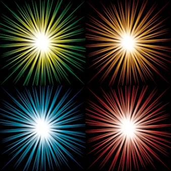 Set of colorful abstract starbursts