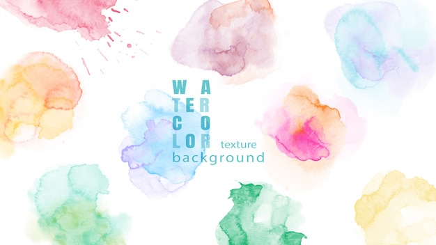 Set of colorful abstract watercolor stain background