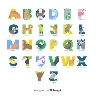 Set of colorful animal letters