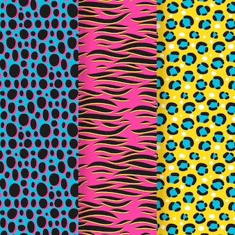 Set di coloratissimi modelli di stampa animalier
