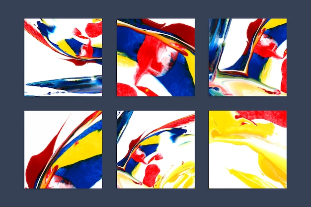 Set of colorful artistic square backgrounds