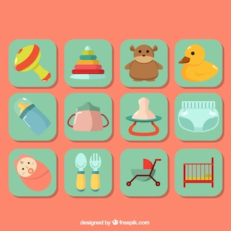Set of colorful baby items in flat design