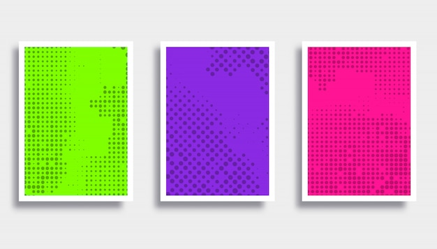 Set of colorful backgrounds with halftone pattern.