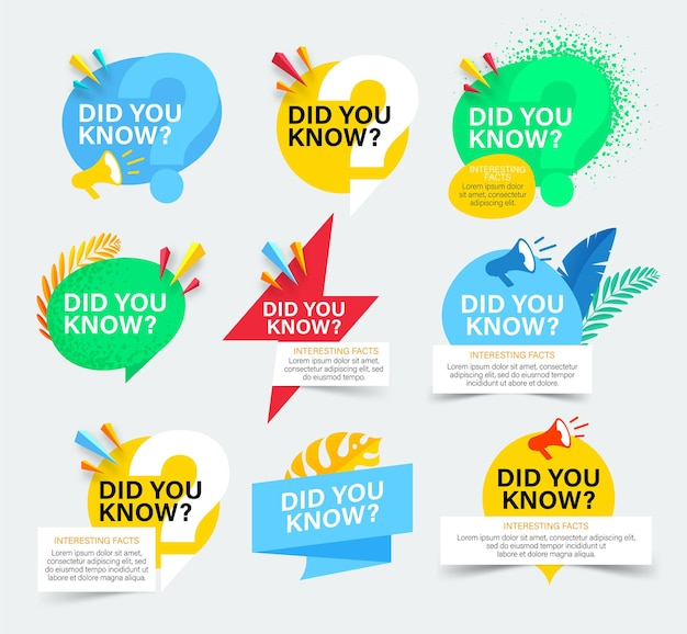 Set of colorful badges with did you know question.