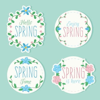 Set of colorful badges with spring thematic