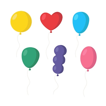 Set of colorful balloons various forms