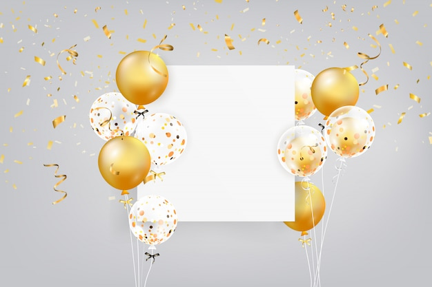 Set of colorful balloons with confetti and empty space for text. realistic background for birthday, anniversary, wedding, holiday congratulation banners.