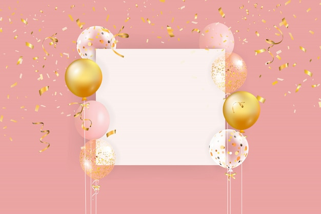 Set of colorful balloons with confetti and empty space for text. realistic background for birthday, anniversary, wedding, holiday congratulation banners