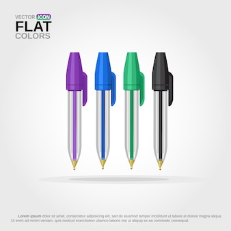 Set of colorful ballpens with lid cartoon isolated