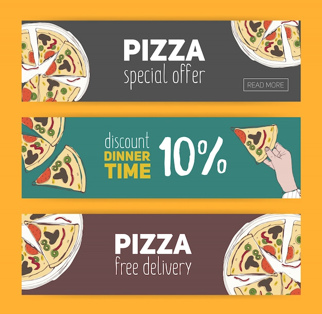Set of colorful banner templates with hand drawn pizza cut into slices. special offer, dinner time discount and free meal. illustration for italian restaurant, pizzeria, delivery service.