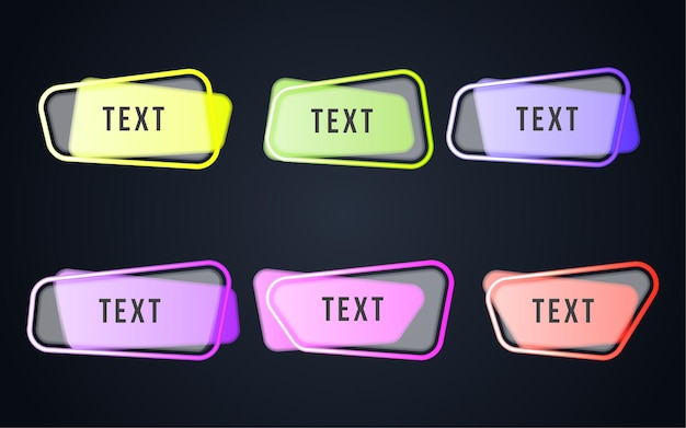Set colorful banner text web Free Vector
