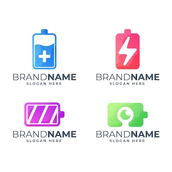 Set of colorful battery logo template