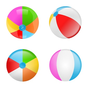 Set of colorful beach balls. collection of  inflatable balls